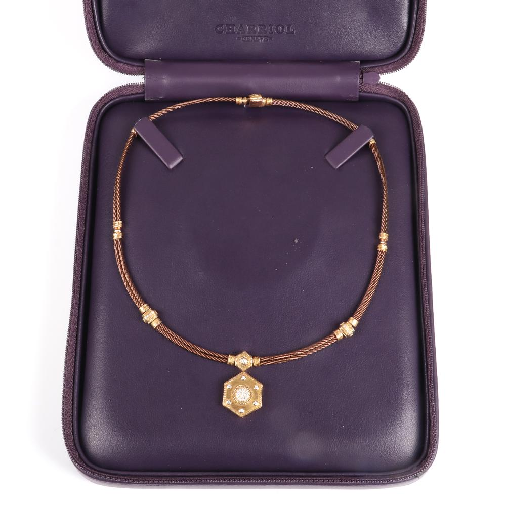 """Charriol Geneve stamped 750 18K rose gold, diamond medallion, and bronze cable designer station necklace in leather case. 17""""L , 1 1/8"""" (pendant) 33.10 dwt"""