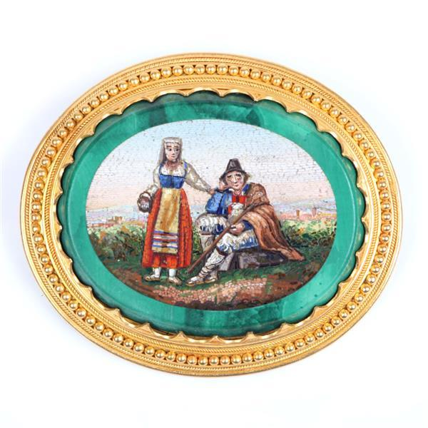 """Superb Antique 19th Century micro mosaic pin brooch with Vatican hallmark on 18K gold mount, figural scenic with Roman landscape, Lamb of God symbology, 11/4""""H x 2""""W"""
