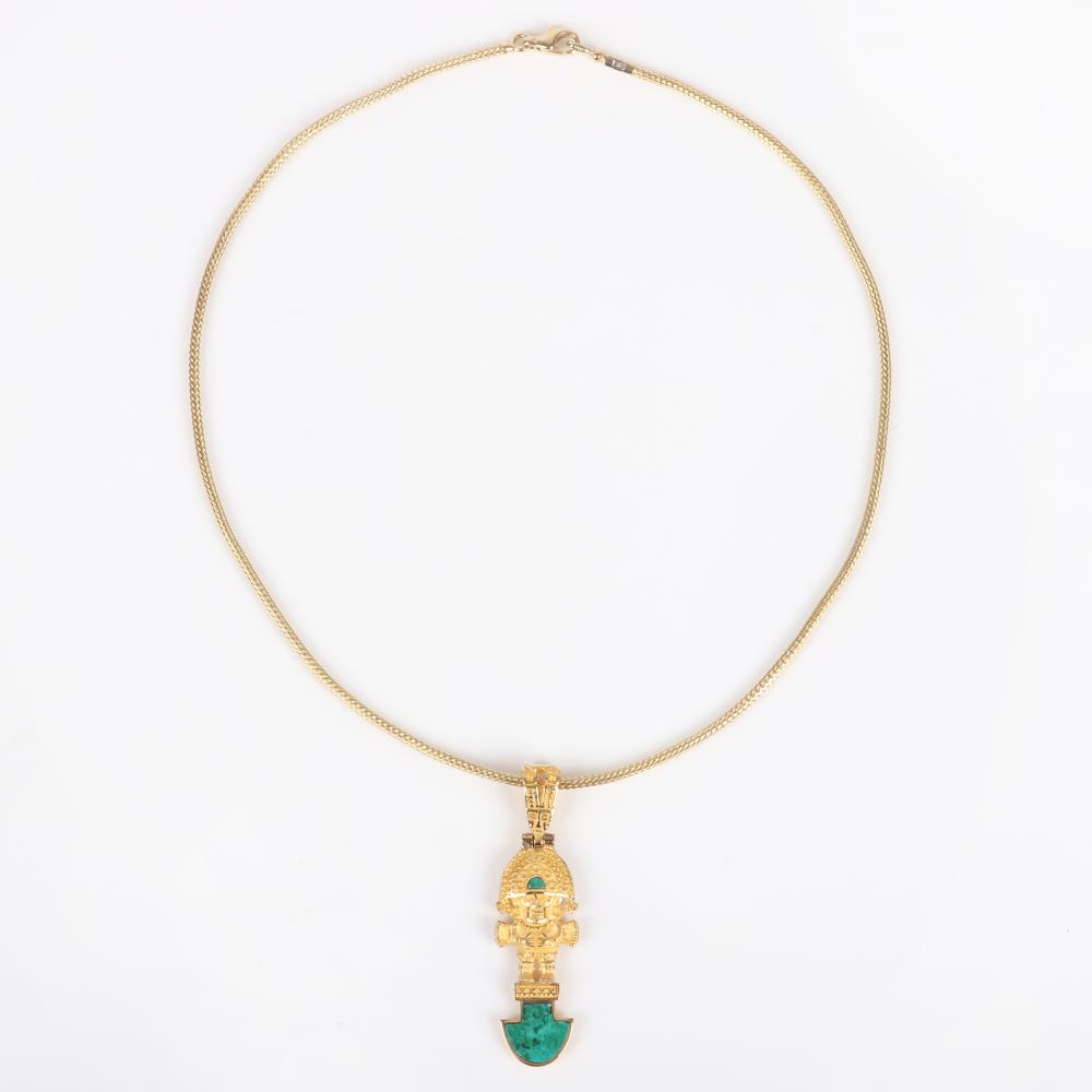 "Peruvian 18K Yellow gold 12.45dwt Incan deity amulet figural pendant with malachite inlay on 14K gold 1.7mm snake chain. 16"" L, 2""H x 3/4""W (pendant) 12.45 dwt."