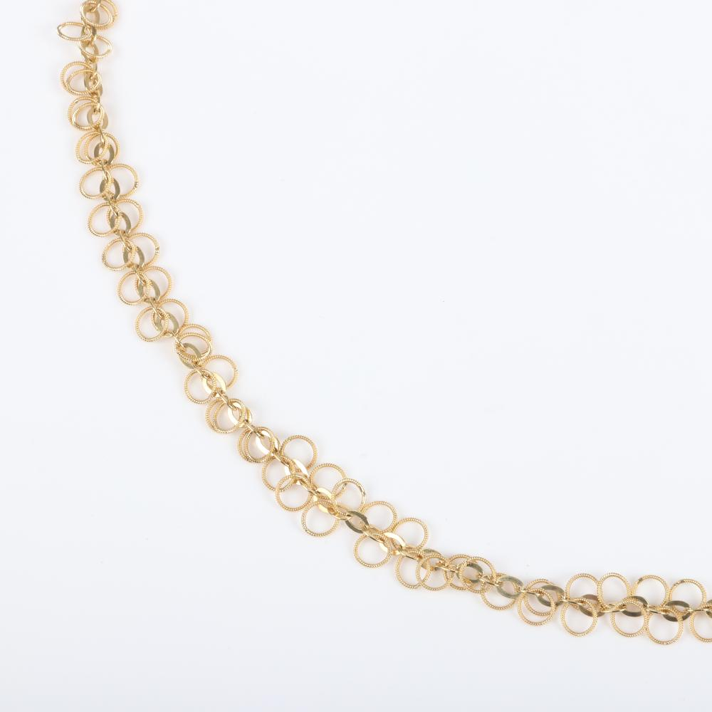 """Stamped 18K Italy yellow gold 29 inch open link chain necklace, 25.40dwt with textured dangling circle links. 29""""L, 25.40 dwt"""