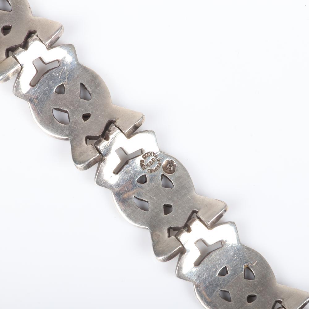 Vintage Sterling Silver Mexican Linked Panel Bracelet