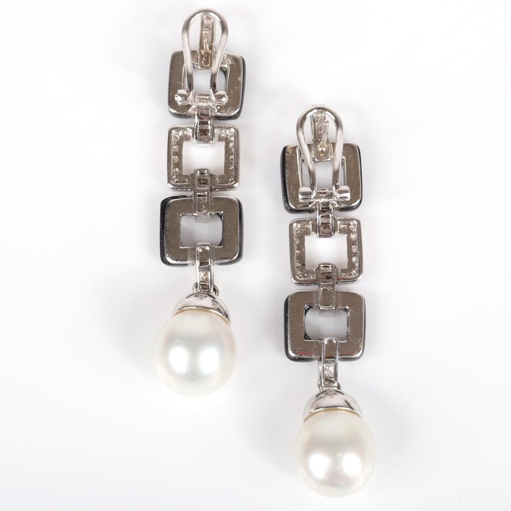 """Pair custom crafted cultured South Sea pearl, onyx and diamond 18K white gold square link drop earrings. 2 1/2""""H"""