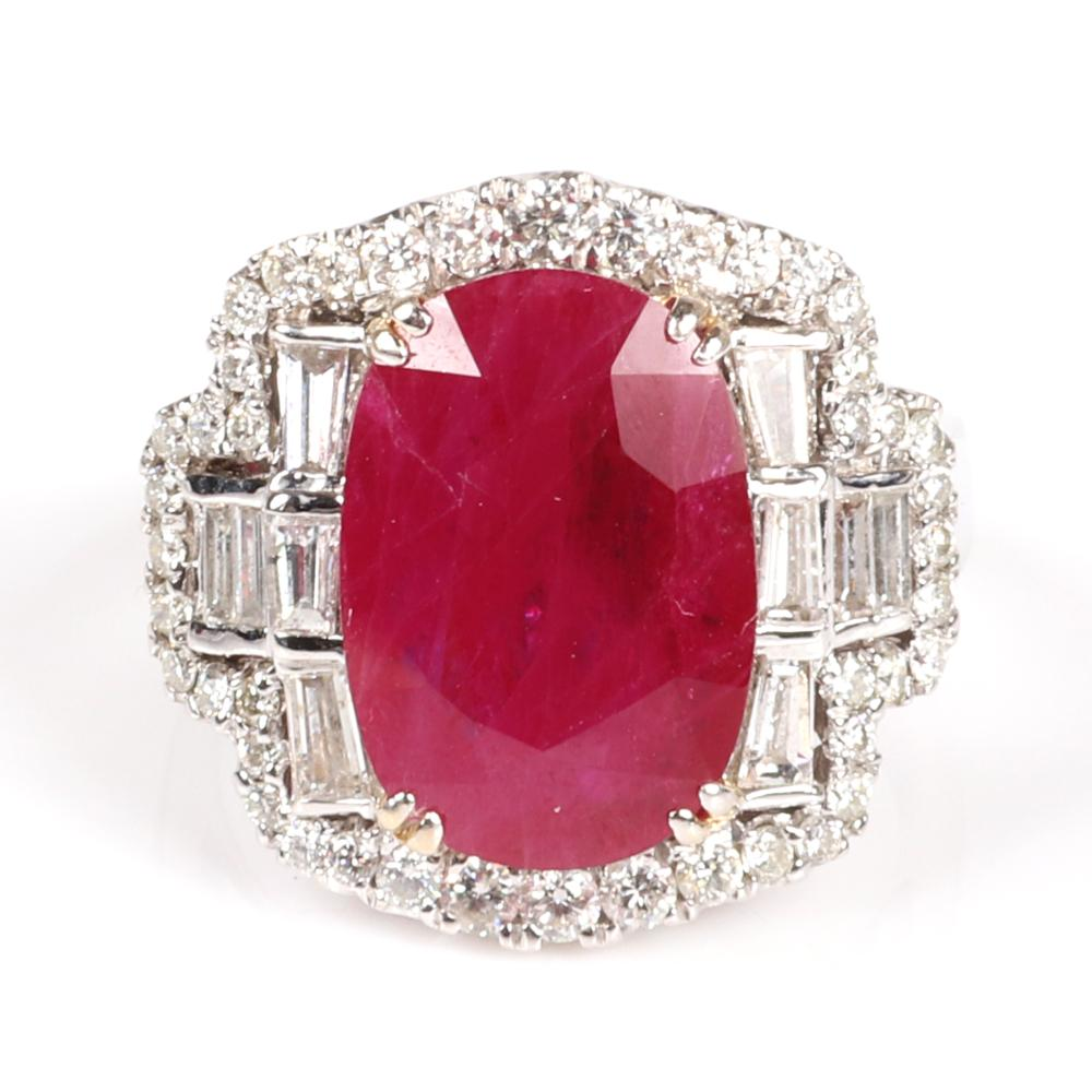 Lady's 18K stamped white gold natural corundum ruby and diamond ring featuring: Ring size 5 1/4