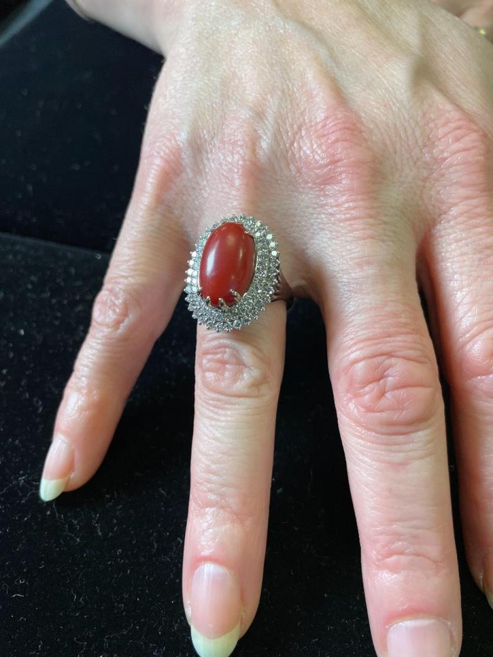 Ladies 18K stamped white gold coral and diamond ring featuring: Ring size 5
