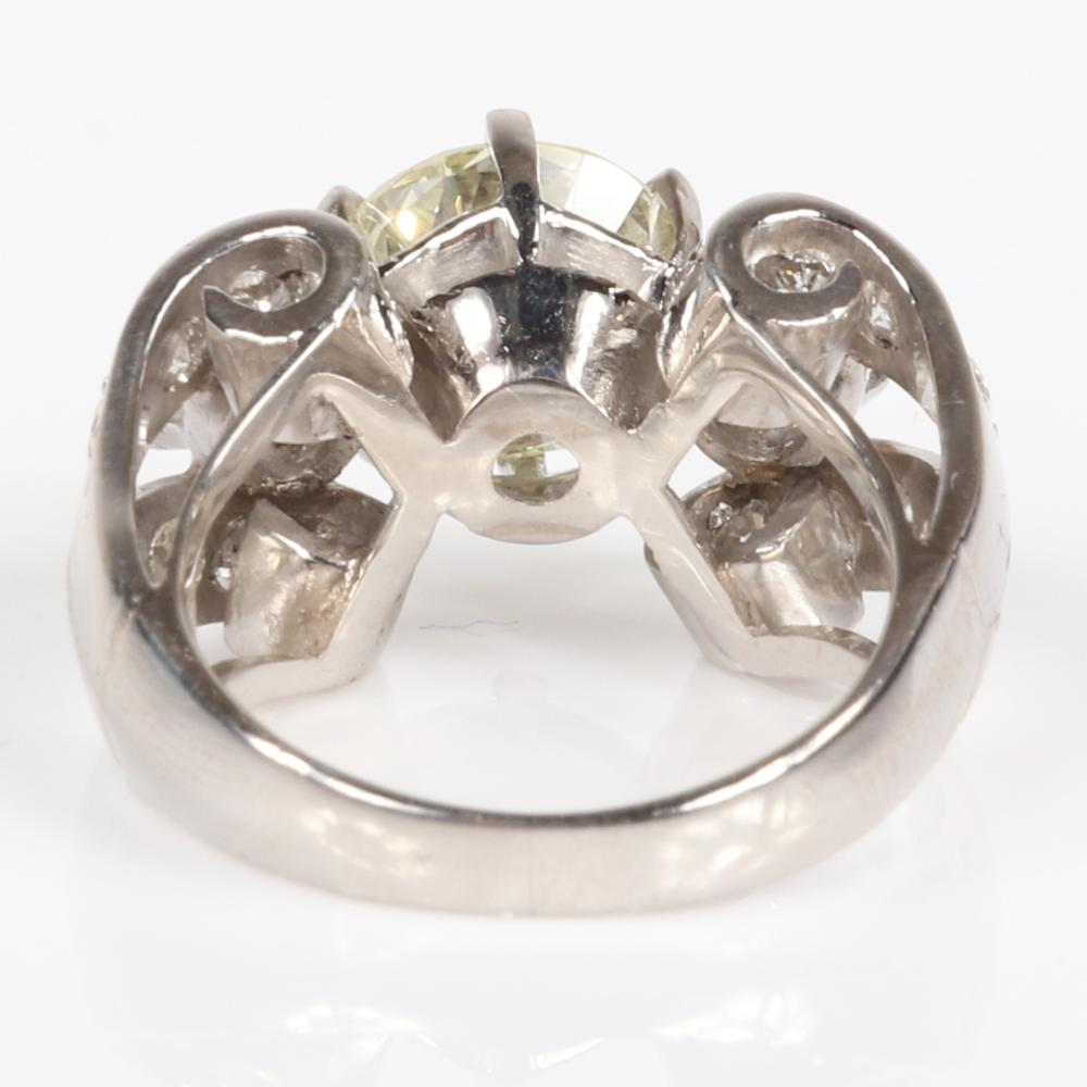 Vintage estate Lady's platinum and 2.58 ct. center diamond ring. Ring size 5