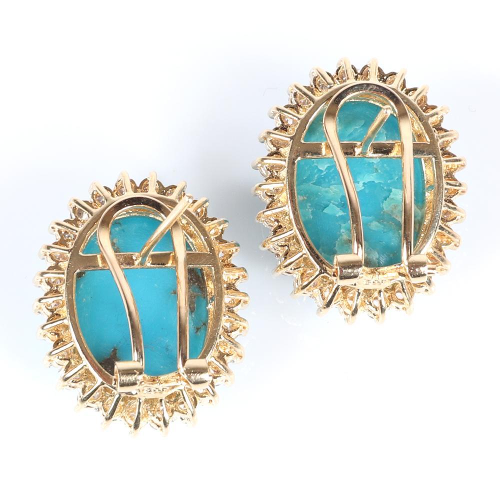 "Sleeping Beauty turquoise and diamond 14K yellow gold earrings. 1""H"