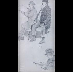 Wayman Adams Figural pencil sketches 3 men Indiana