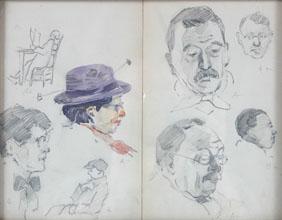 Wayman Adams sketchbook sketches TC Steele color