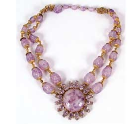 Miriam Haskell Lavender Swirl Glass Bead Necklace