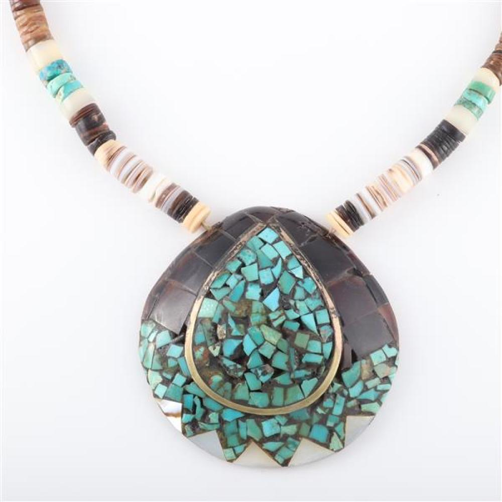 Vintage Inlaid Abalone Pearl Pendant with Vintage Chain