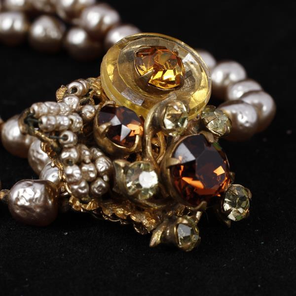 Miriam Haskell 2pc. Bracelet & Clip Earrings, double strand grey pearls with topaz and citrine color jewels on gold tone flower clus...