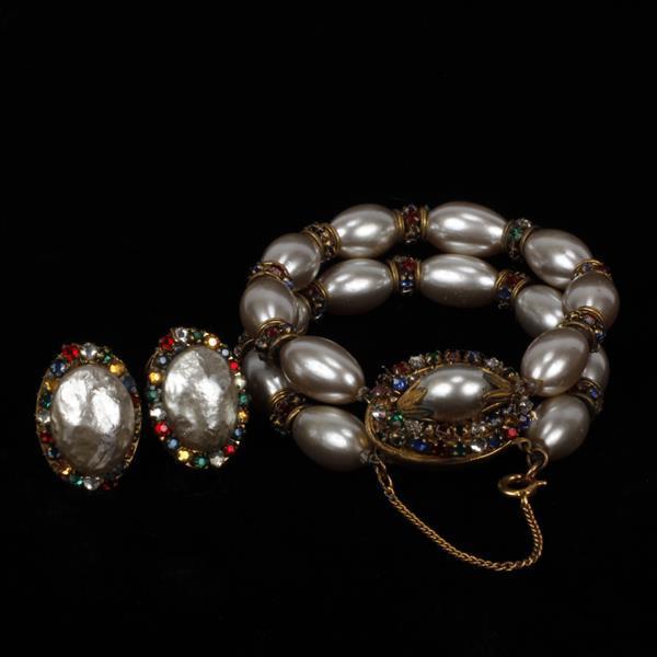 Miriam Haskell 2pc. Faux Pearl & Rhinestone Jewels; bracelet & pair of clip earrings.