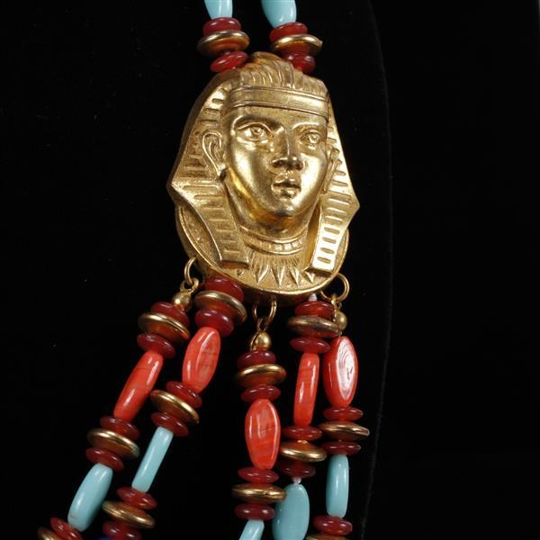 Miriam Haskell 2pc. Set; Egyptian Multi-strand Beaded Necklace with gilt Pharaoh Heads & Clip Earrings.
