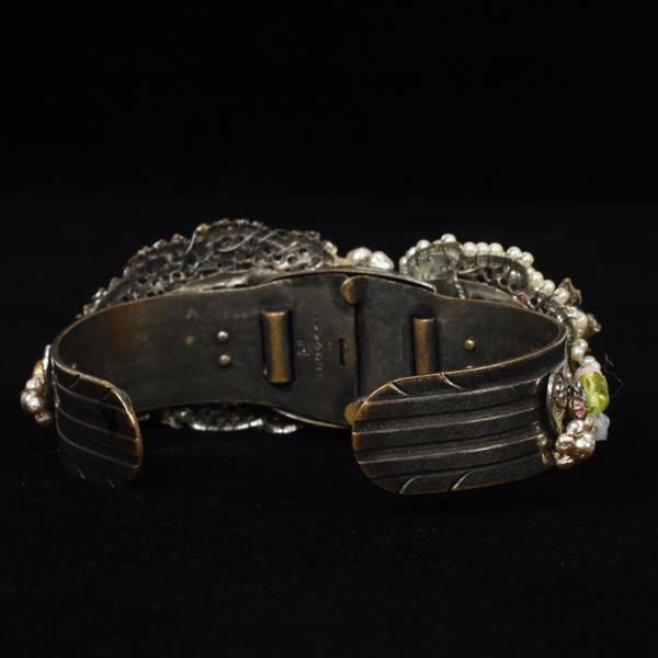 Miriam Haskell Floral Hinged Cuff Bracelet with metal, rhinestones, & glass beads, & faux pearls.