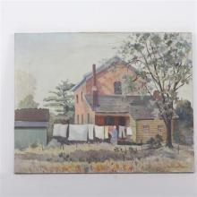 """Francis Clark Brown, (American; 1908 - 1992), Rural scene with woman and clothesline, oil on canvas, 22"""" x 28"""""""