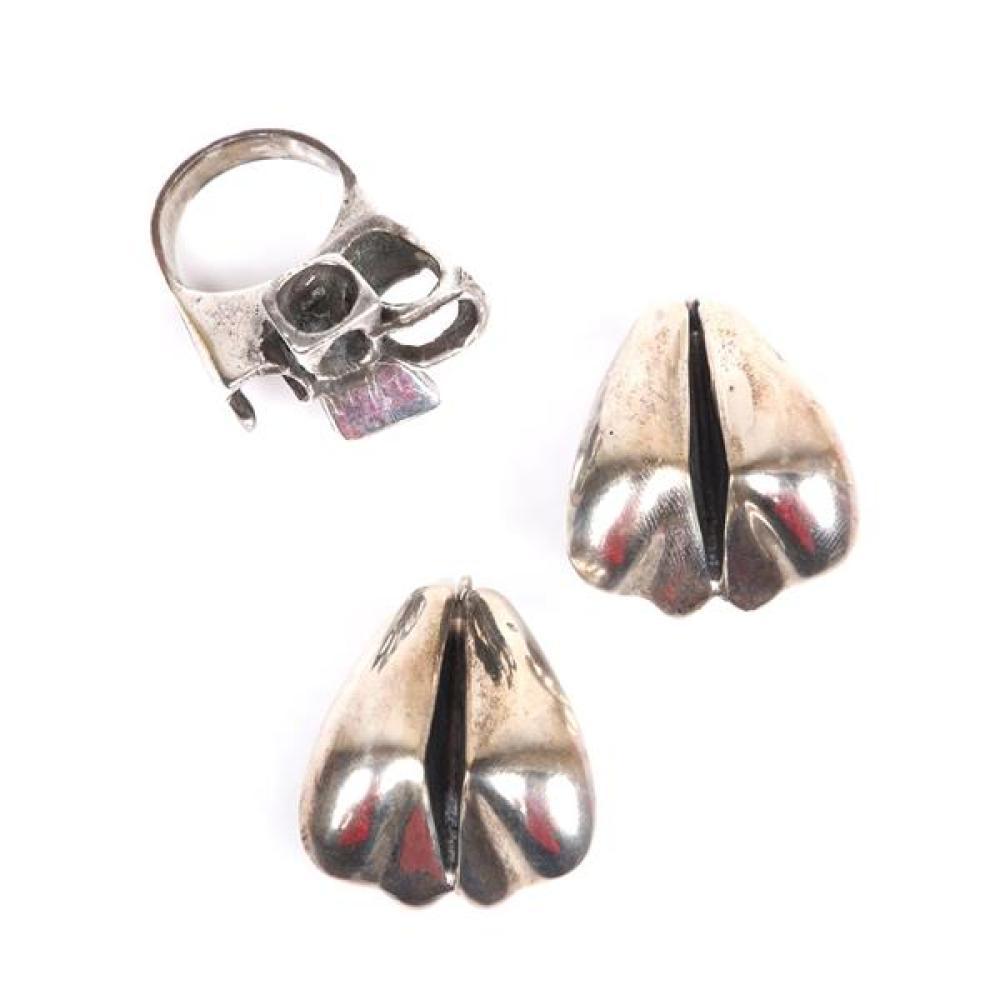 Fabulous vintage studio modernist style sterling silver choker necklace /& sterling silver pierced earrings