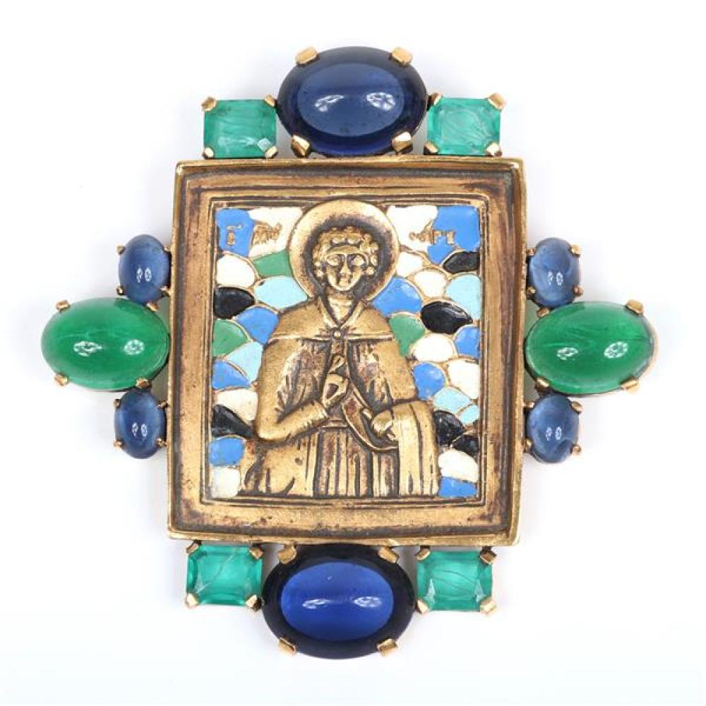 Trifari Diane Love Russian icon large brass pendant pin brooch with enamel detail and faceted gripoix and large glass cabochon jewel...
