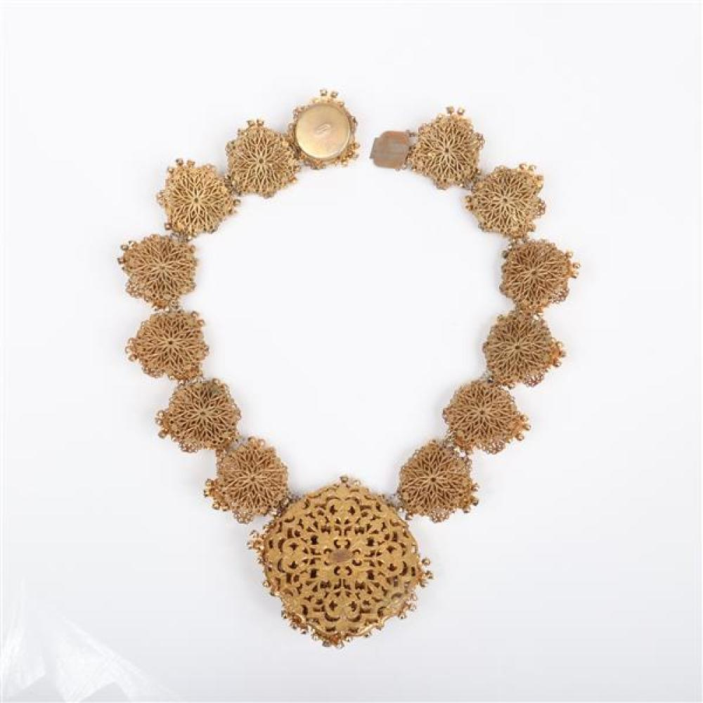 Sensational BEST Miriam Haskell statement gold gilt brass filigree necklace with 14 layered medallion cluster jewel links decorated...