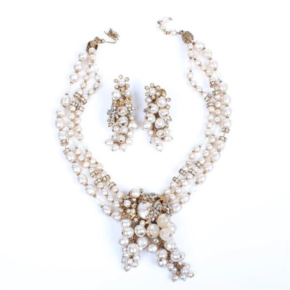 Miriam Haskell 2pc. demi-parure; 3 strand baroque pearl necklace set with cascading grape bunch beaded dangles, rondelles and rhines...