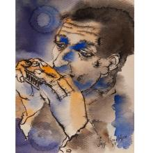 """Jeff Donaldson, (American, b. 1932), Man with Red Harmonica, watercolor on paper, 8-7/8"""" x 6-7/8"""""""