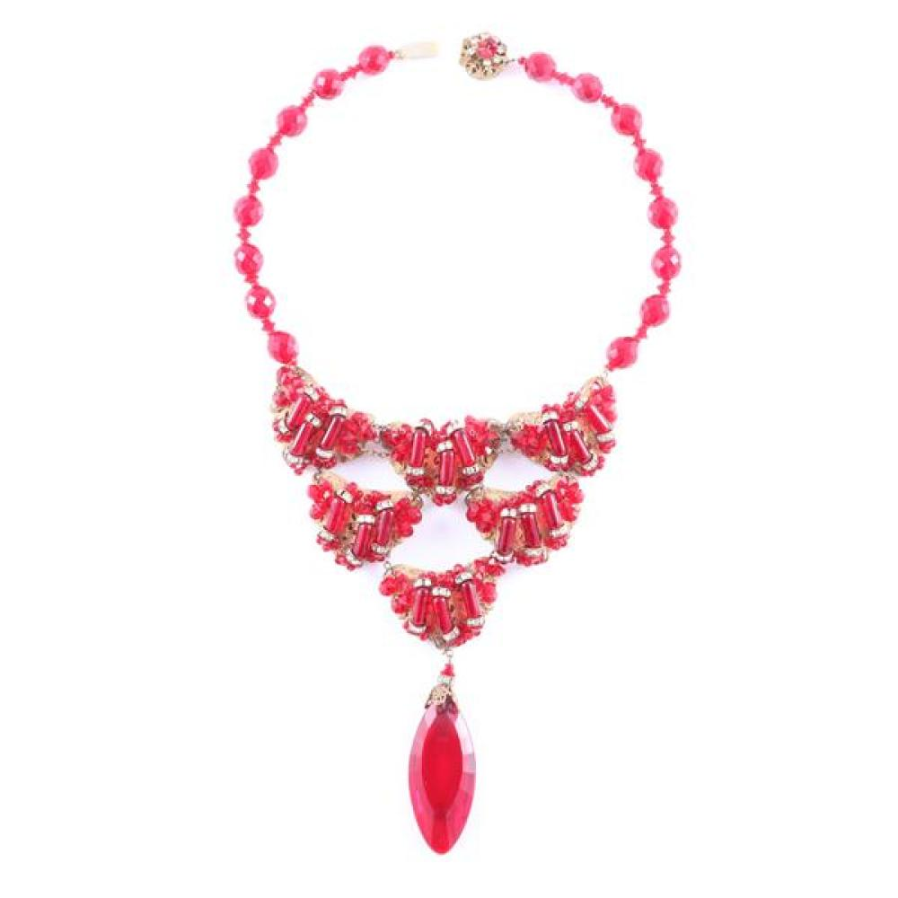 Miriam Haskell bib necklace with red rondelle beads and a faceted red jewel pendant.