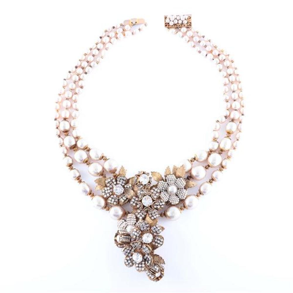 Miriam Haskell three strand graduated baroque pearl and gilt jewel encrusted flower cluster flourish necklace with seed pearls, rhin...