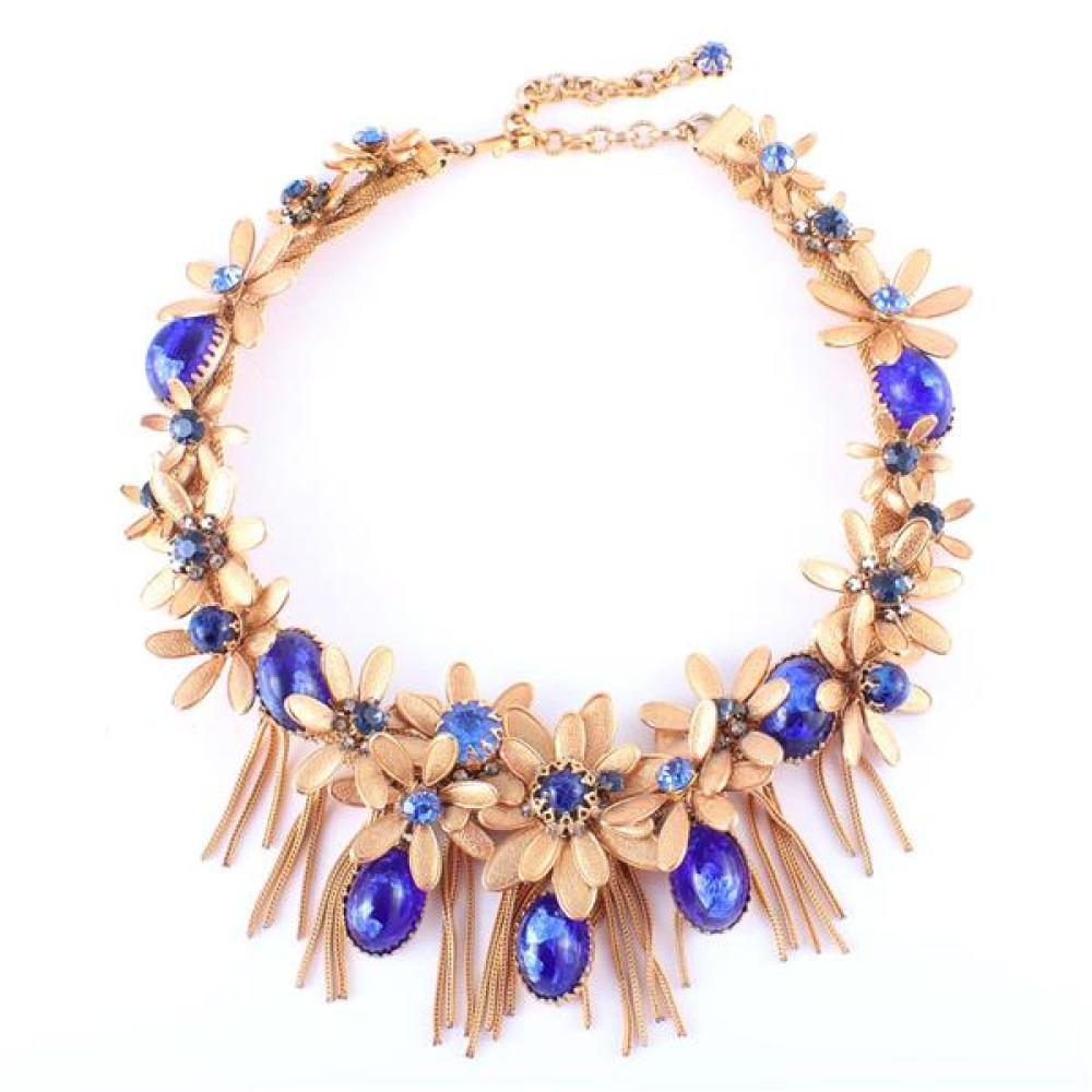 DeMario gold tone jeweled daisy chain layered flower cluster bib necklace with sapphire blue glass cabochons, faceted jewels, drops...