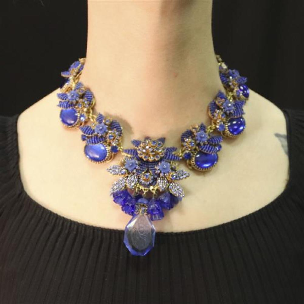 Exquisite Ian St. Gielar necklace for Stanley Hagler NY layered floral gilt filigree medallions encrusted with sapphire blue poured...