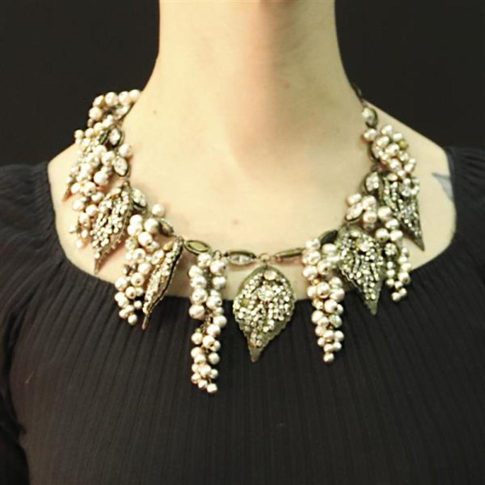 Gorgeous Miriam Haskell faux pearl grape cluster and diamante vine collar necklace, large colorless crystal links with cascading bea...