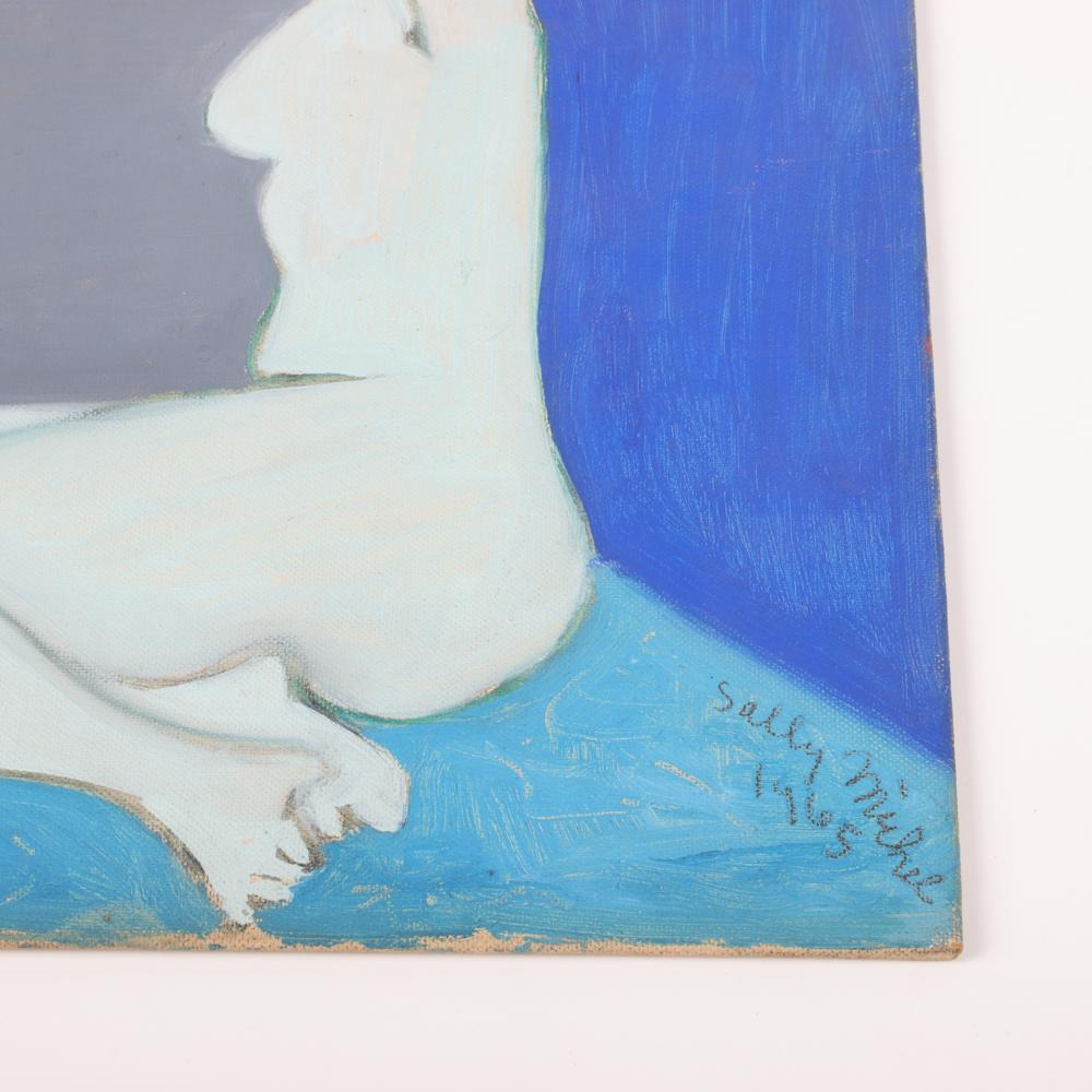 """Sally Michel Avery, American (1902-2003), Seated Nude, 1965, oil on board, 11 1/2""""H x 8 1/2""""W (sight), 18 1/4""""H x 15 1/4""""W (frame)"""