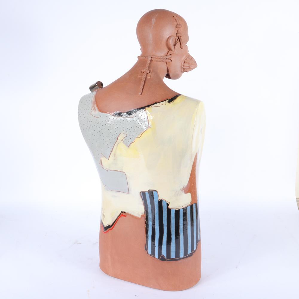 "Richard ""Dick"" Hay, Indiana (1942-2020), untitled (Figure Series), ca. 1976-1986, slips, engobes, and glazes on earthenware, 33 1/2"" x 13 1/2"" x 8 1/2"""