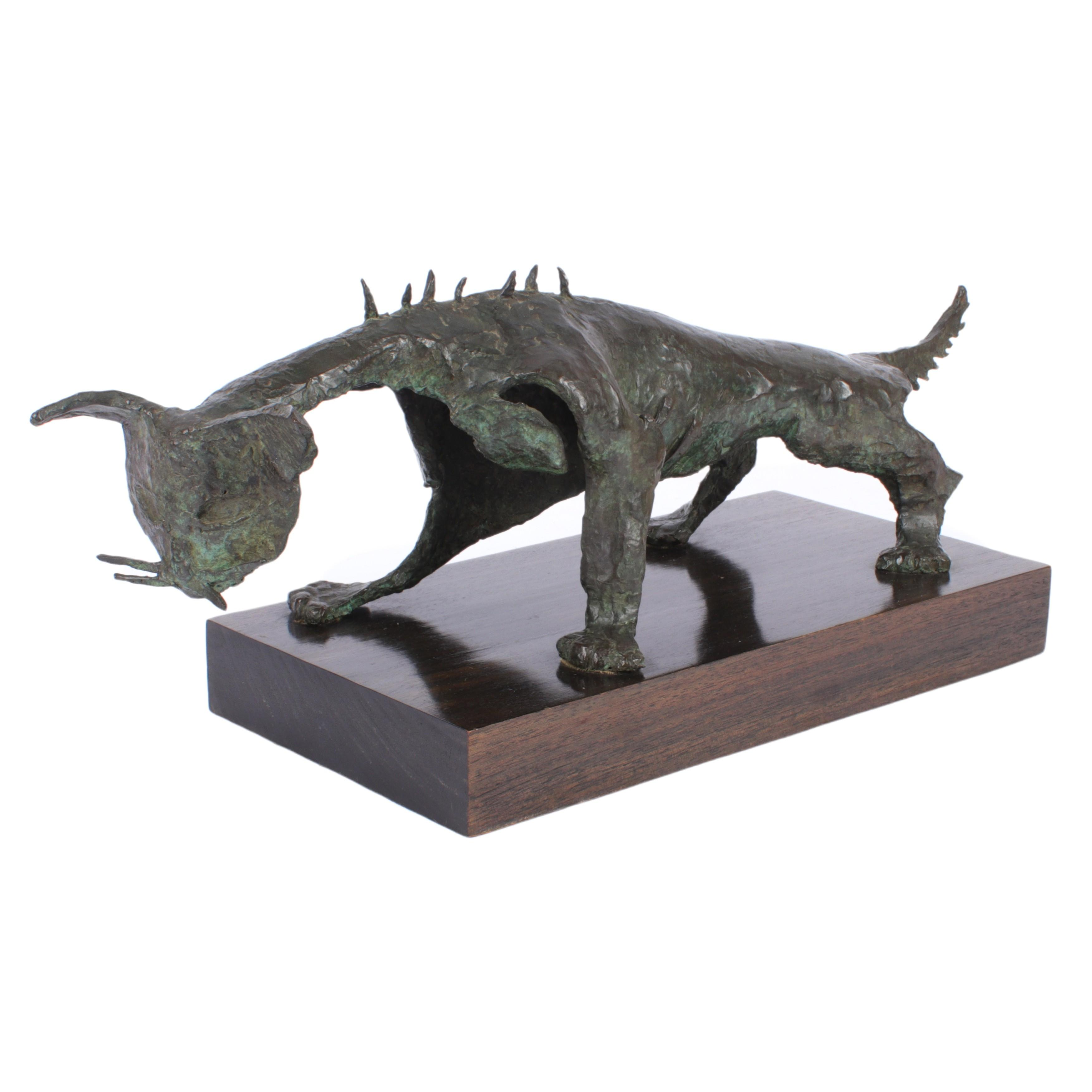 """Angel Botello, Puerto Rico, Haiti, Spain (1913-1986), El Gato Feo, Cast #1, bronze sculpture, 9"""" H x 22 1/4"""" W x 8"""" D"""