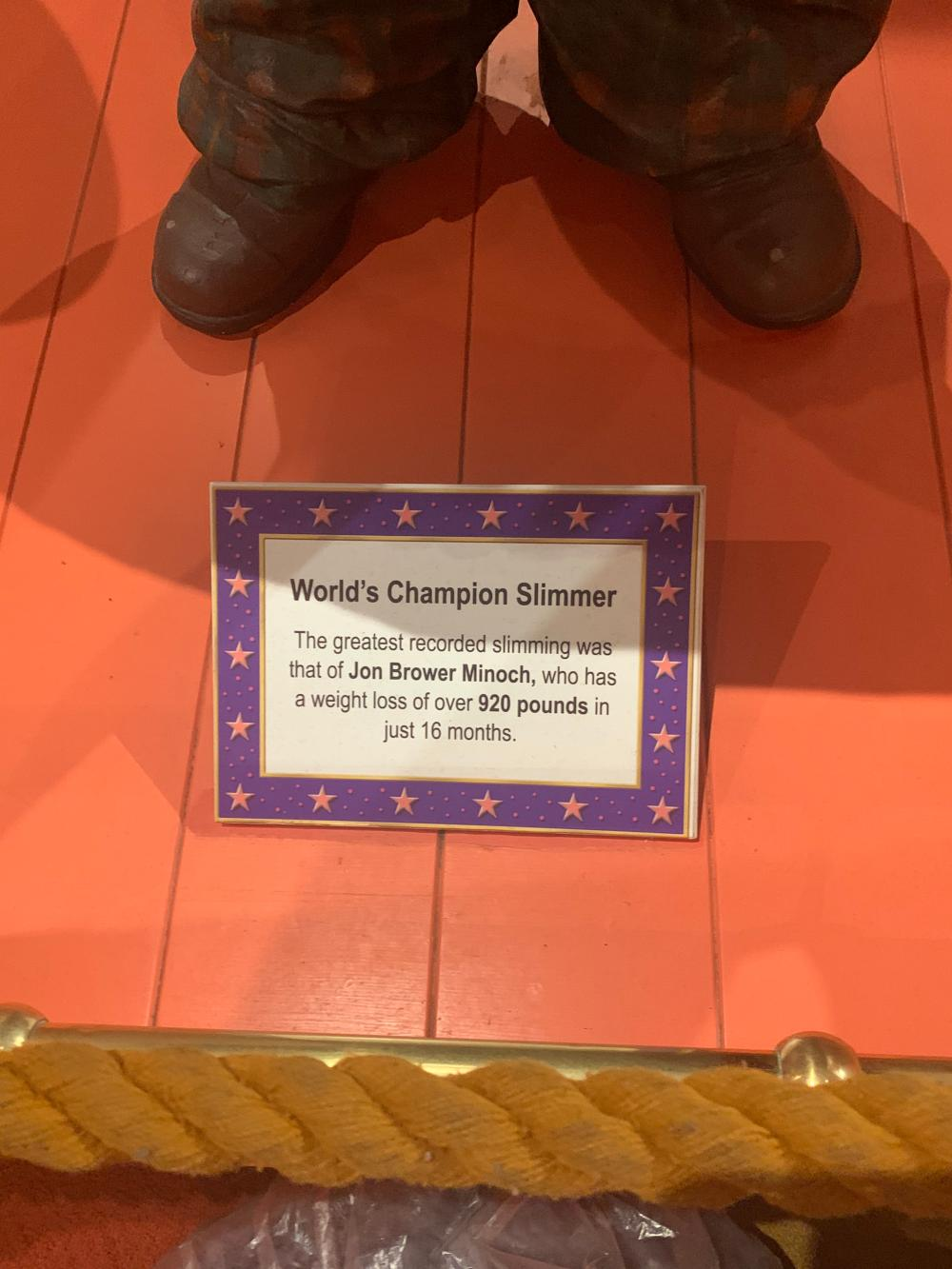 World Champion Slimmer Weight Loss Museum Display Circus Sideshow Character