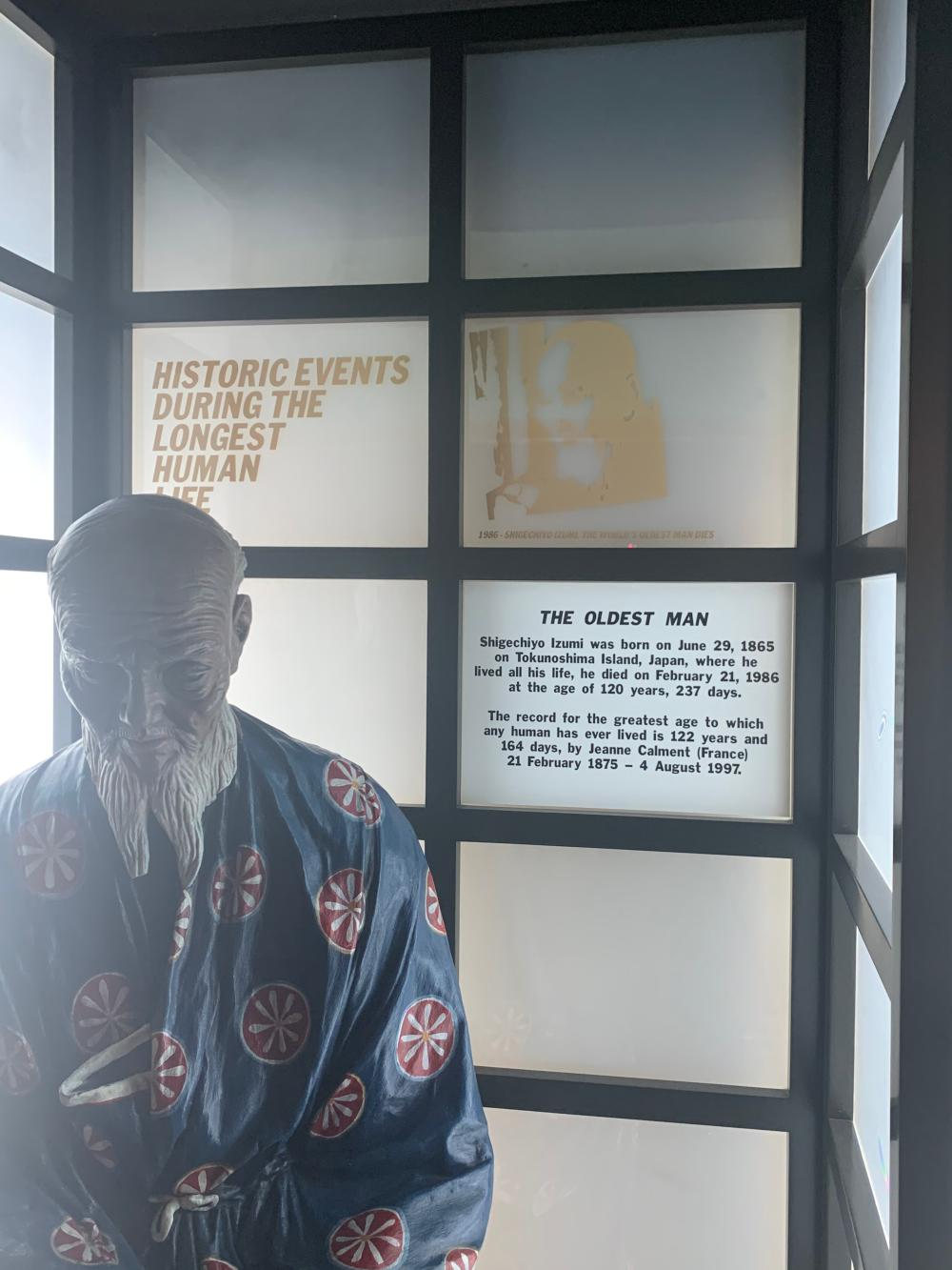 World's Oldest Man Character Museum Display World Record