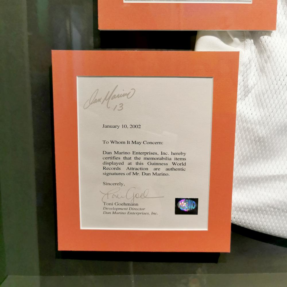Signed Dan Marino Miami Dolphins Jersey Guinness World Records Museum Display