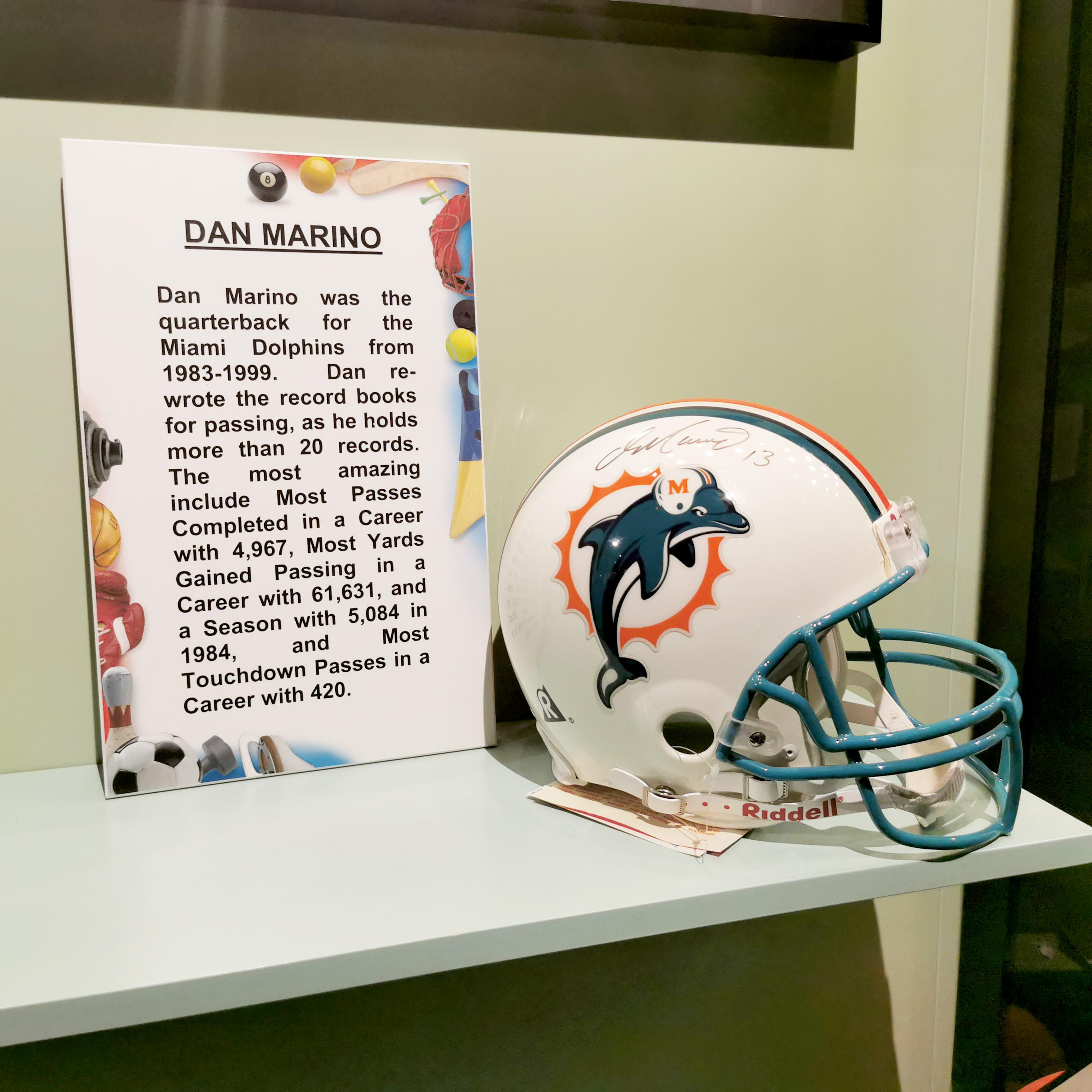 Miami Dolphins Helmet Signed Dan Marino Guinness World Records Museum Display