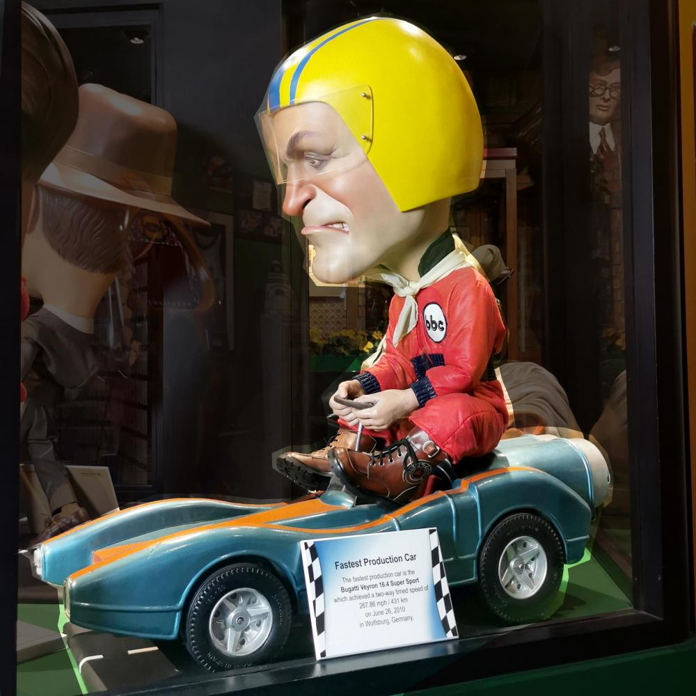 Fastest Car & Driver Caricature Guinness Museum Display