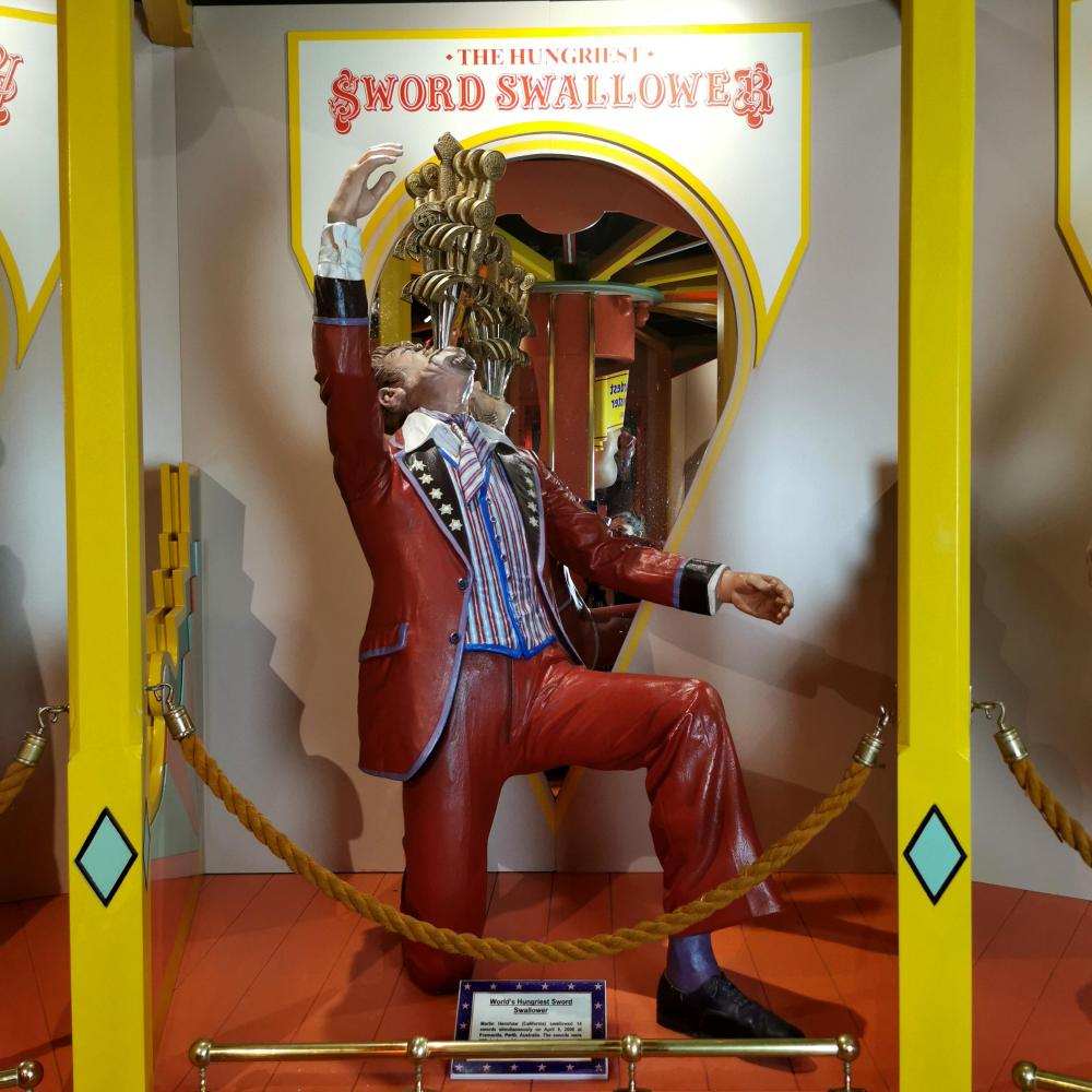 Sword Swallower Live Size Circus Sideshow Oddity Character Museum Display Guinness