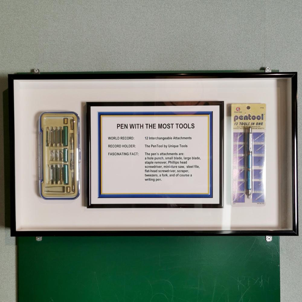 Pentool Guinness Record Pen with Most Tools Framed Museum Display