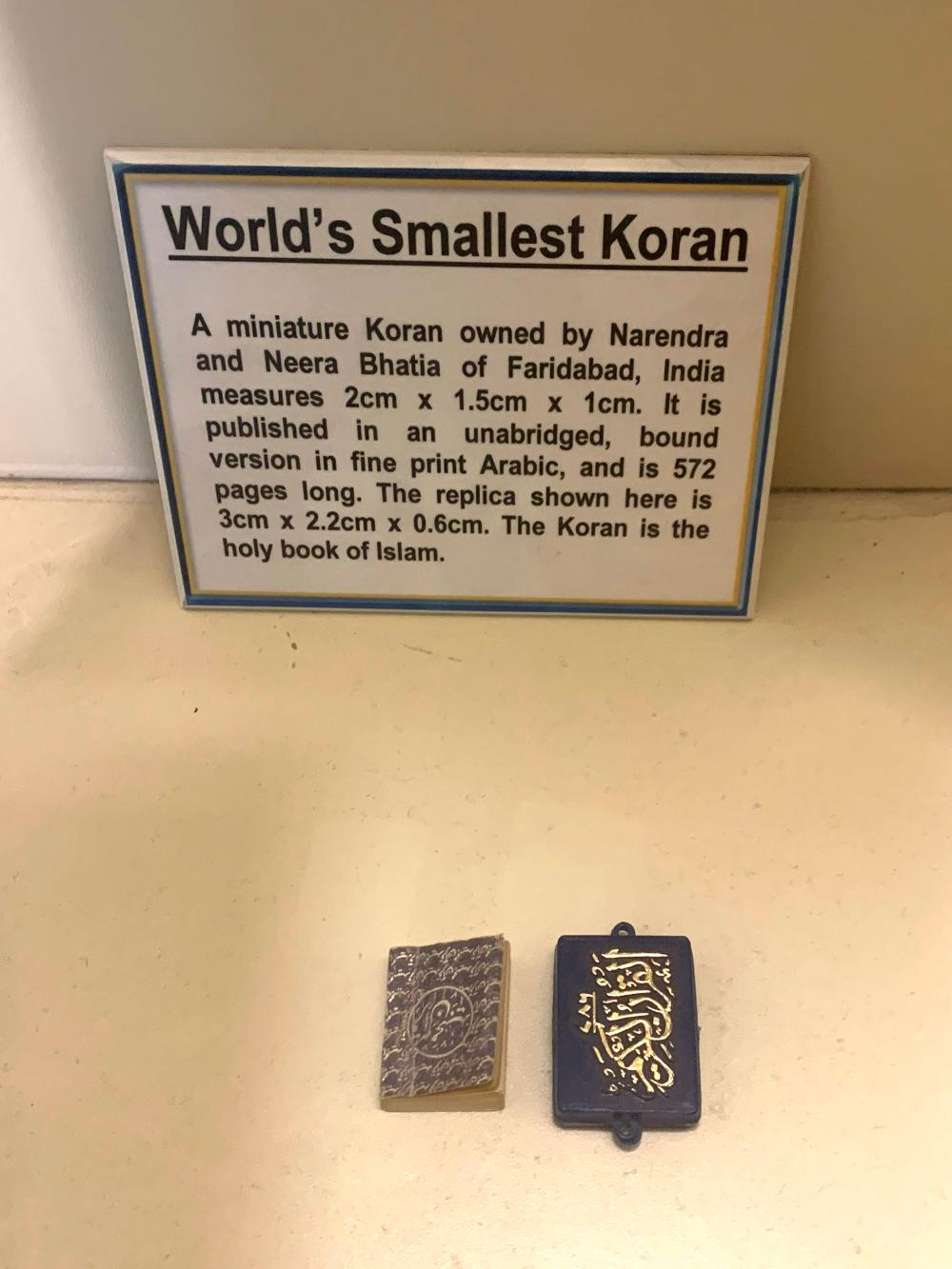 World's Smallest Koran Quran Guinness Museum Display