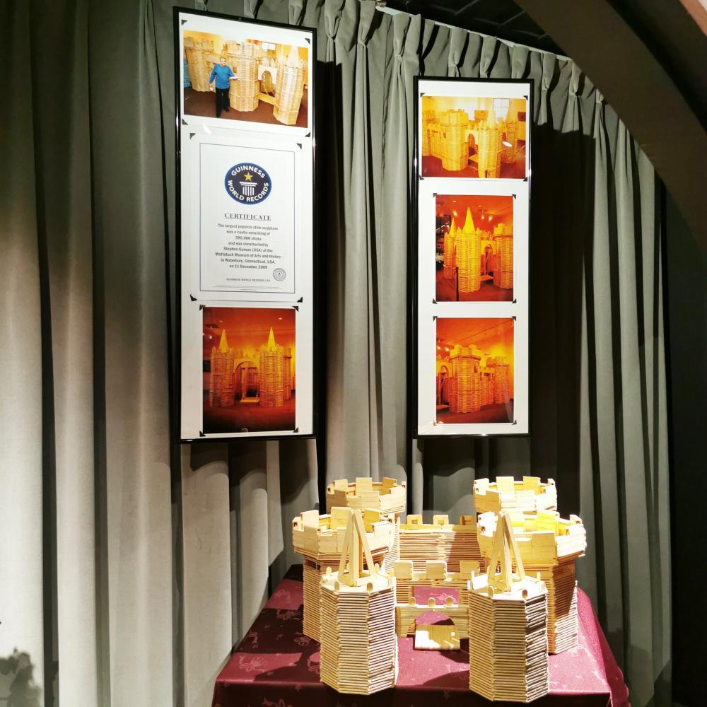 World Records Museum Display Diamonds Popsicle stick castle