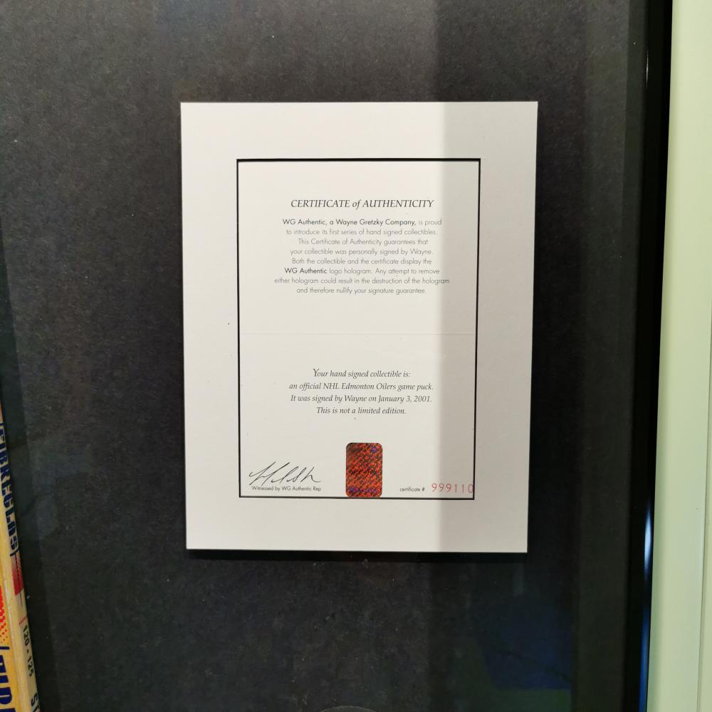 Wayne Gretzky Framed Hockey Stick Puck LOA Guinness Museum Display