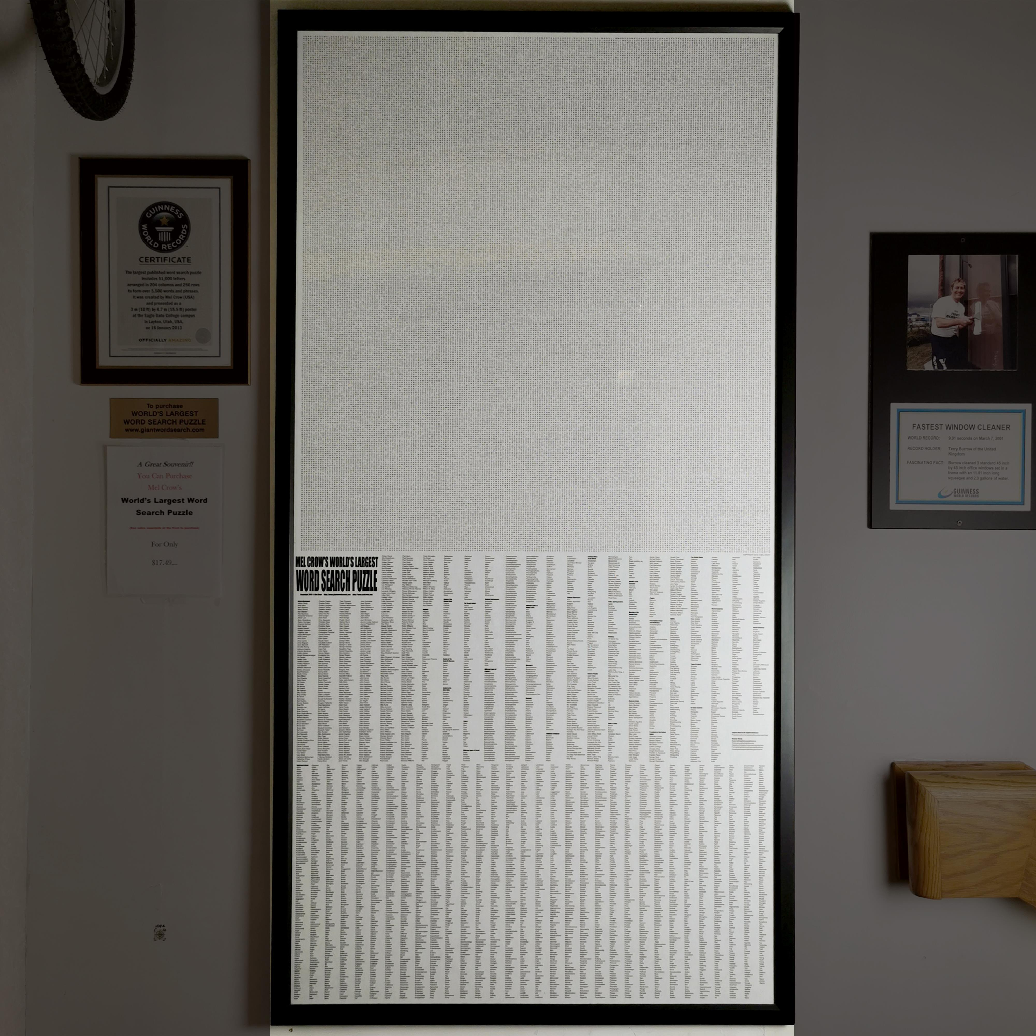 World's Largest Word Search Puzzle Guinness World Record Replica
