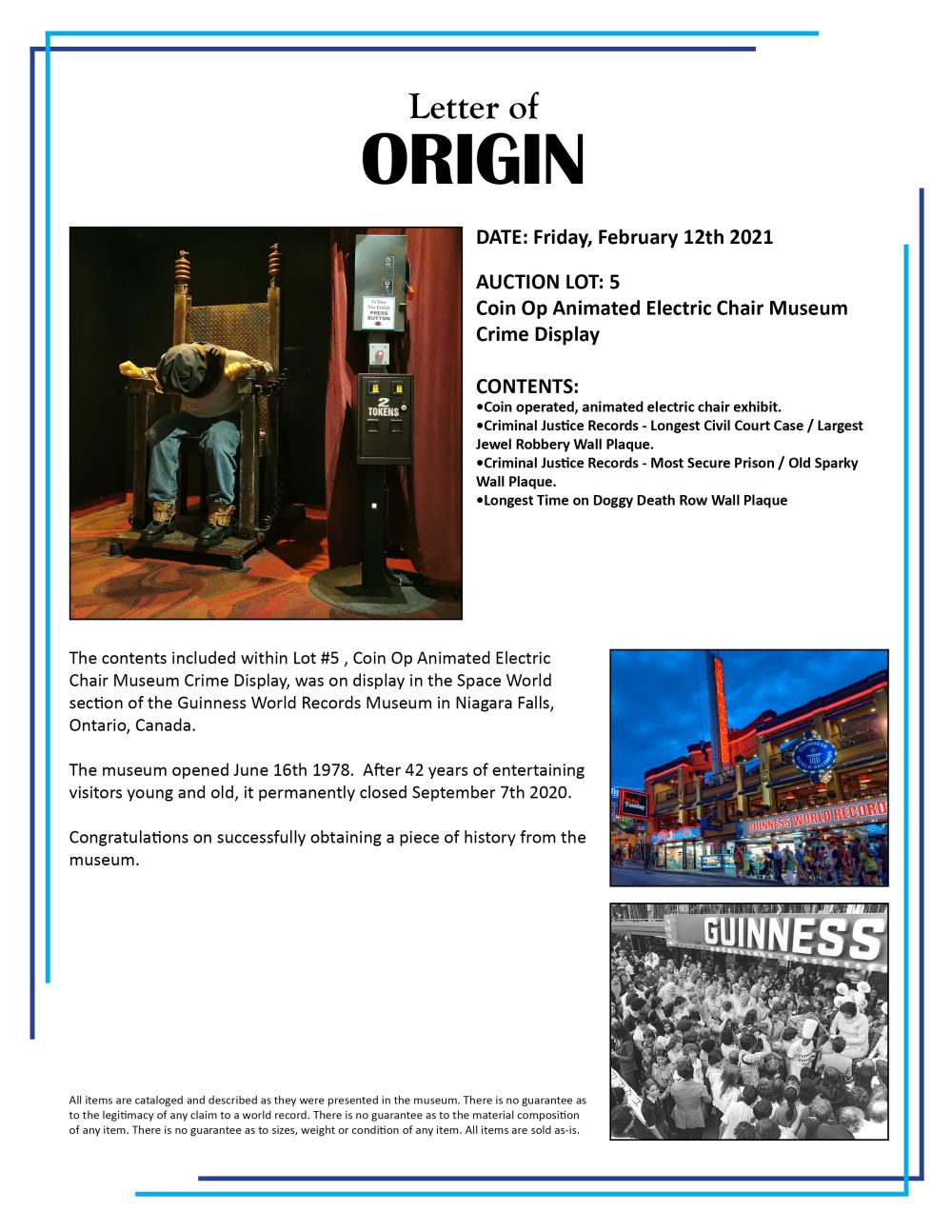 Coin Op Animated Electric Chair Museum Crime Oddity Display Guinness World Records
