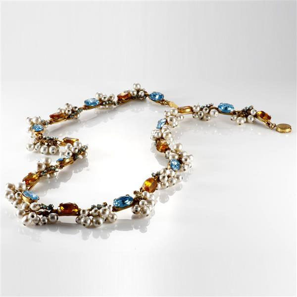 Signed Miriam Haskell 1950s pearl and faceted crystal jewel prototype necklace from Sandy and Eli Moss Collection.