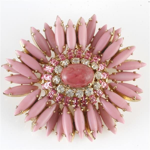 Unsigned Schreiner pink ruffle flower brooch with opaque glass and crystal jewels
