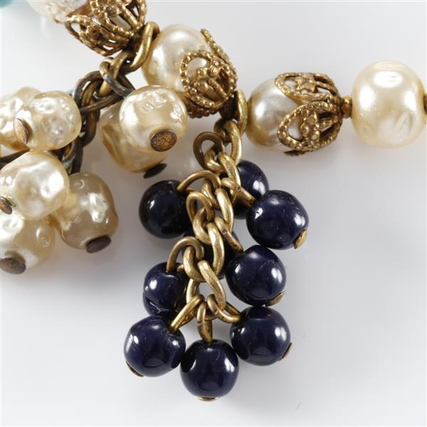 Unsigned Miriam Haskell opera length pearl and blue glass beaded prototype necklace from the Eli and Sandy Moss Collection.