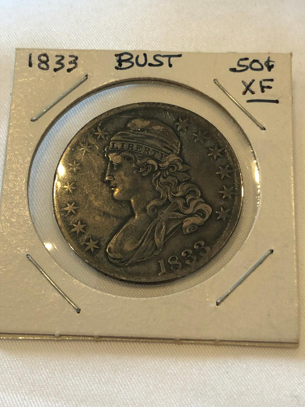 1833 Capped Bust Silver .50 Cent Coin