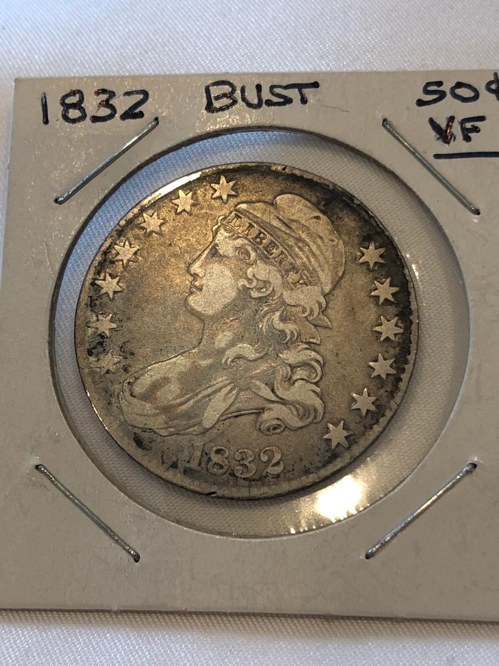 1832 Capped Bust Silver .50 Cent Coin