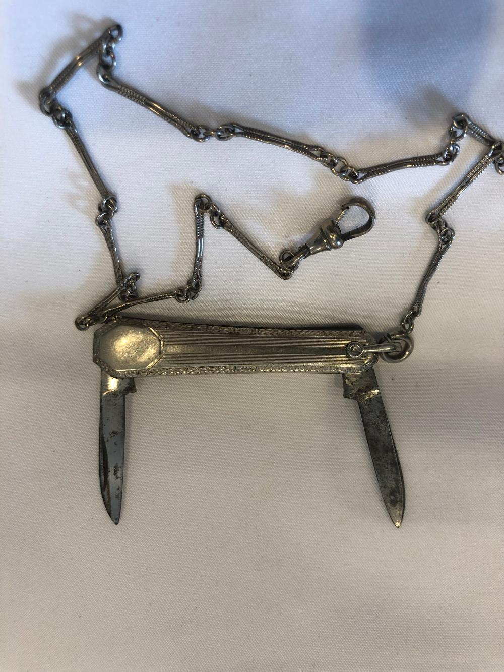White Rolled Gold Pocket Knife with Chain